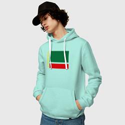 Толстовка-худи хлопковая мужская Чечня: флаг цвета мятный — фото 2