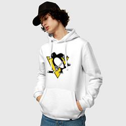 Толстовка-худи хлопковая мужская Pittsburgh Penguins цвета белый — фото 2