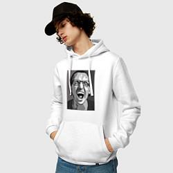 Толстовка-худи хлопковая мужская Bennington Mono цвета белый — фото 2
