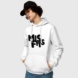 Толстовка-худи хлопковая мужская Misfits цвета белый — фото 2