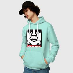 Толстовка-худи хлопковая мужская OBEY Face цвета мятный — фото 2