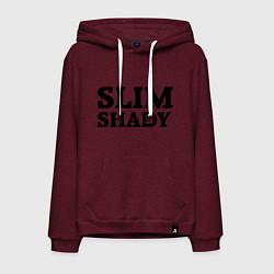 Толстовка-худи хлопковая мужская Slim Shady: Big E цвета меланж-бордовый — фото 1