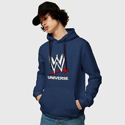 Толстовка-худи хлопковая мужская WWE universe цвета тёмно-синий — фото 2