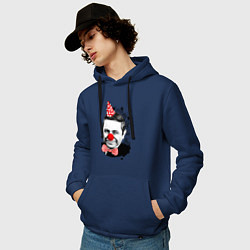 Толстовка-худи хлопковая мужская Евгений Петросян клоун цвета тёмно-синий — фото 2