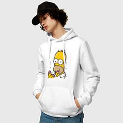 Толстовка-худи хлопковая мужская Гомер с Пончиком цвета белый — фото 2