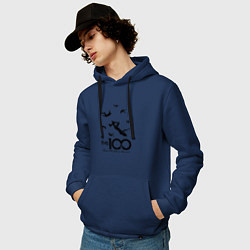 Толстовка-худи хлопковая мужская The 100 цвета тёмно-синий — фото 2