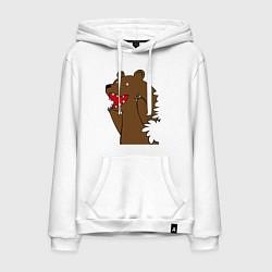 Толстовка-худи хлопковая мужская Медведь цензурный цвета белый — фото 1
