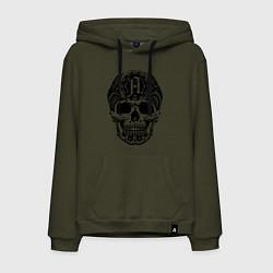 Толстовка-худи хлопковая мужская Architects: Devil Skull цвета хаки — фото 1