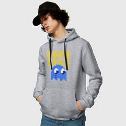 Толстовка-худи хлопковая мужская Pac-Man: Game over цвета меланж — фото 2