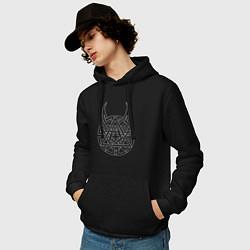 Толстовка-худи хлопковая мужская DISTURBED цвета черный — фото 2