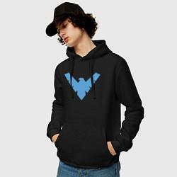 Толстовка-худи хлопковая мужская Nightwing цвета черный — фото 2