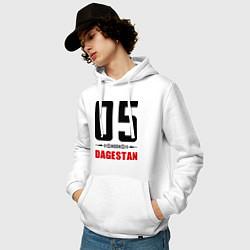 Толстовка-худи хлопковая мужская 05 Dagestan цвета белый — фото 2