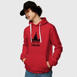 Толстовка-худи хлопковая мужская Saiyan цвета красный — фото 2