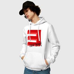 Толстовка-худи хлопковая мужская Slim Shady цвета белый — фото 2