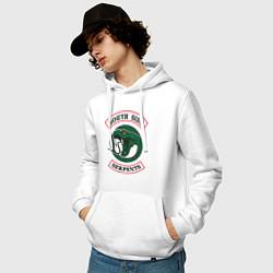 Толстовка-худи хлопковая мужская SERPENTS цвета белый — фото 2