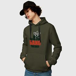 Толстовка-худи хлопковая мужская Big Bang Theory logo цвета хаки — фото 2