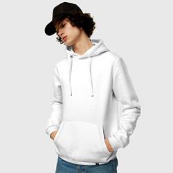 Толстовка-худи хлопковая мужская PANTERA цвета белый — фото 2