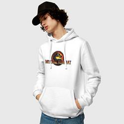 Толстовка-худи хлопковая мужская Mortal Kombat цвета белый — фото 2