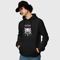 Толстовка-худи хлопковая мужская ВЕДЬМАК цвета черный — фото 2
