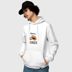 Толстовка-худи хлопковая мужская Печеньки цвета белый — фото 2