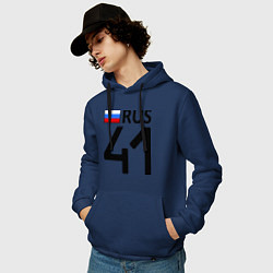 Толстовка-худи хлопковая мужская RUS 41 цвета тёмно-синий — фото 2