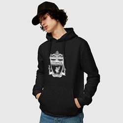 Толстовка-худи хлопковая мужская LIVERPOOL ФК цвета черный — фото 2