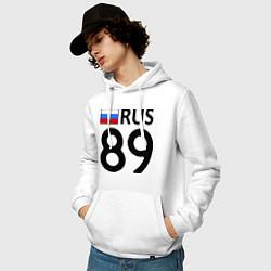 Толстовка-худи хлопковая мужская RUS 89 цвета белый — фото 2