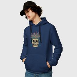 Толстовка-худи хлопковая мужская Череп Моргенштерна цвета тёмно-синий — фото 2