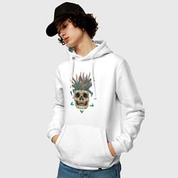 Толстовка-худи хлопковая мужская Череп Моргенштерна цвета белый — фото 2
