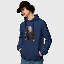 Толстовка-худи хлопковая мужская Wanda цвета тёмно-синий — фото 2