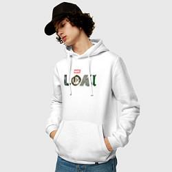 Толстовка-худи хлопковая мужская Локи Marvel белый лого цвета белый — фото 2