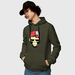 Толстовка-худи хлопковая мужская Monkey Swag цвета хаки — фото 2