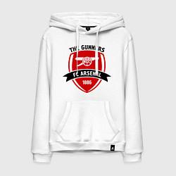 Толстовка-худи хлопковая мужская FC Arsenal: The Gunners цвета белый — фото 1