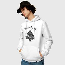 Толстовка-худи хлопковая мужская Motorhead: Ace of spades цвета белый — фото 2