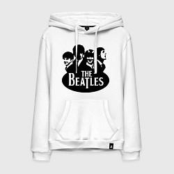 Толстовка-худи хлопковая мужская The Beatles Band цвета белый — фото 1