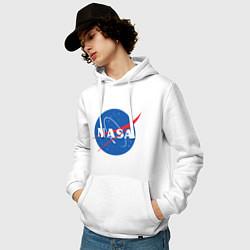 Толстовка-худи хлопковая мужская NASA: Logo цвета белый — фото 2