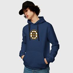 Толстовка-худи хлопковая мужская Boston Bruins цвета тёмно-синий — фото 2