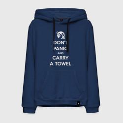 Толстовка-худи хлопковая мужская Dont panic & Carry a Towel цвета тёмно-синий — фото 1