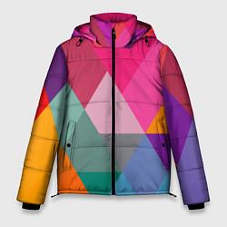Куртка зимняя мужская Разноцветные полигоны цвета 3D-черный — фото 1