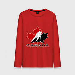 Лонгслив хлопковый мужской Canada цвета красный — фото 1