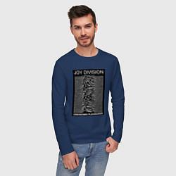 Лонгслив хлопковый мужской Joy Division: Unknown Pleasures цвета тёмно-синий — фото 2