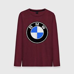Мужской хлопковый лонгслив с принтом Logo BMW, цвет: меланж-бордовый, артикул: 10014391200015 — фото 1