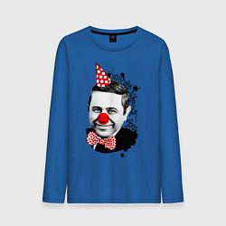 Лонгслив хлопковый мужской Евгений Петросян клоун цвета синий — фото 1