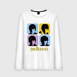 Лонгслив хлопковый мужской The Beatles: pop-art цвета белый — фото 1