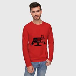 Лонгслив хлопковый мужской Игроман цвета красный — фото 2