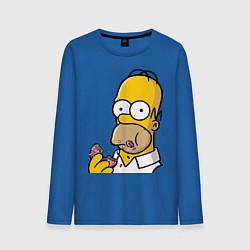 Лонгслив хлопковый мужской Гомер с Пончиком цвета синий — фото 1