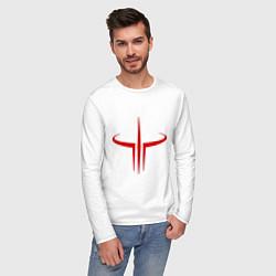 Лонгслив хлопковый мужской Quake logo цвета белый — фото 2