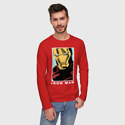 Лонгслив хлопковый мужской Iron Man цвета красный — фото 2