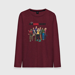 Лонгслив хлопковый мужской Heroes of the Big Bang Theory цвета меланж-бордовый — фото 1