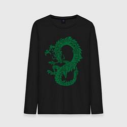 Лонгслив хлопковый мужской Древний китайский дракон цвета черный — фото 1